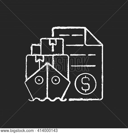 Shipping And Freight Broker Chalk White Icon On Black Background. Comission Cargo Delivery. Financia