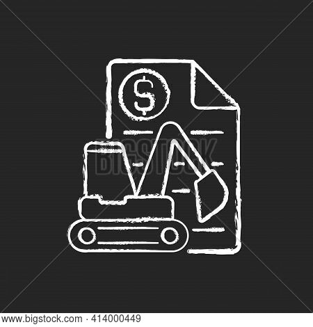 Equipment Leasing Broker Chalk White Icon On Black Background. Brokerage Services For Business. Fina