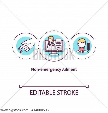 Non Emergency Ailment Concept Icon. Not Urgent Medical Specialist Help Needed. Treatment Of Patient