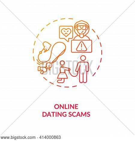 Online Dating Scams Concept Icon. Fraud And Scam On Dating Website Ideas Thin Line Illustration. Pla