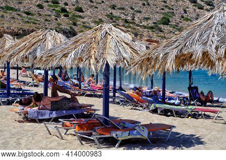 Ios, Greece - August 5, 2019 : The Beautiful Beach Of Agia Theodoti,  In Ios Cyclades Greece