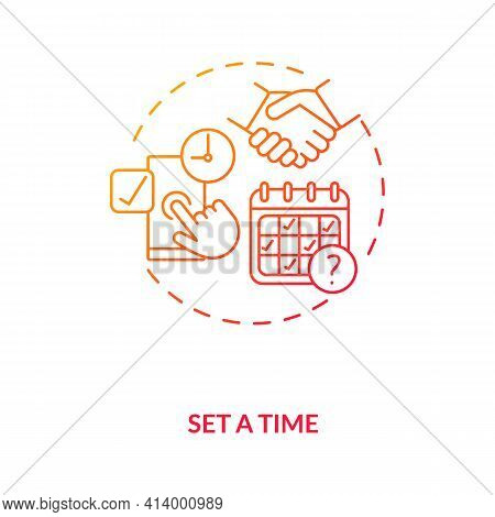 Set First Date Time Tips Concept Icon. Select Date, Make Appointment Ideas Thin Line Illustration. U