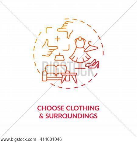 Choose Clothing, Surroundings Concept Icon. Successfull First Video Call Date Tips Idea Thin Line Il