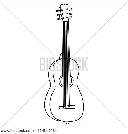 Six-string Acoustic Guitar. Hand Drawn Vector Illustration In Doodle Style On White Background. Isol