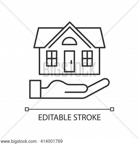Home Insurance Linear Icon. Insured Event. Covering Accident Expenses For Repairing House. Thin Line