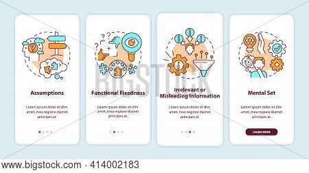 Problem Solving Obstacles Onboarding Mobile App Page Screen With Concepts. Mental Block Walkthrough