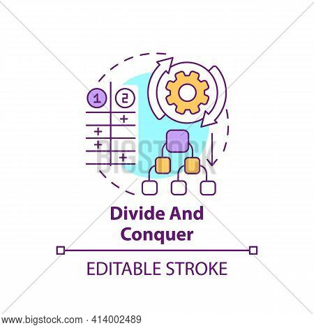 Divide And Conquer Concept Icon. Task Management. Method For Decision Making. Problem Solving Strate