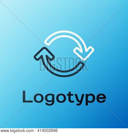 Line Refresh Icon Isolated On Blue Background. Reload Symbol. Rotation Arrows In A Circle Sign. Colo