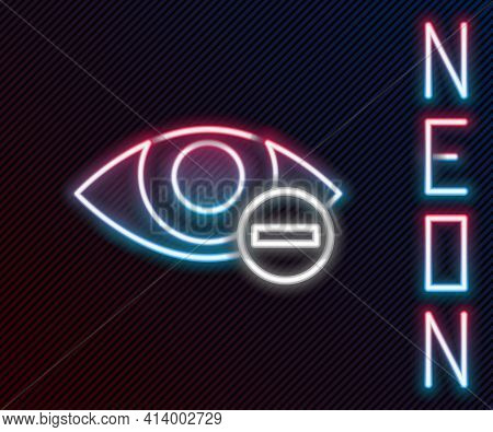 Glowing Neon Line Red Eye Effect Icon Isolated On Black Background. Eye Redness Sign. Inflammatory D