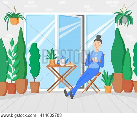Woman Having Breakfast On Terrace With Garden. Plants And Trees On Balcony. Woman Staying At Home An