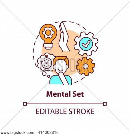 Mental Set Concept Icon. Problem Solving Skills. Issue With Analytical Thinking. Mental Block Idea T