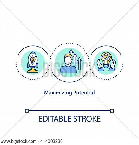 Maximizing Potential Concept Icon. Better Results Achievement Idea Thin Line Illustration. Releasing