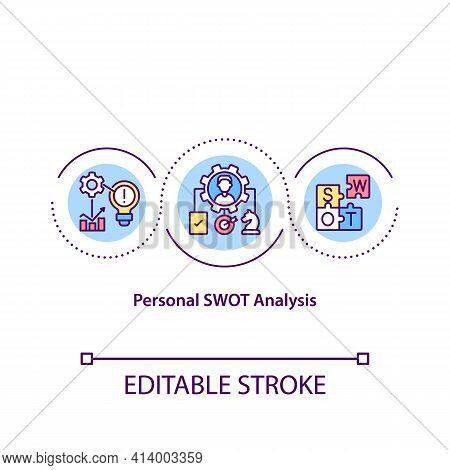 Personal Swot Analysis Concept Icon. Self-examination Idea Thin Line Illustration. Exploring Strengt