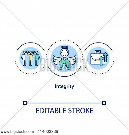 Integrity Concept Icon. Incorruptibility Idea Thin Line Illustration. Employees Respect. Obtaining S