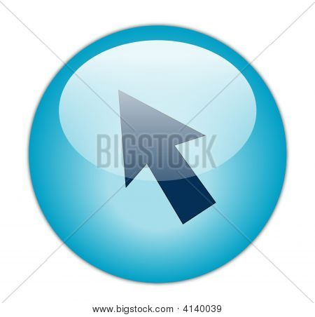 The Glassy Aqua Blue Cursor Icon Button