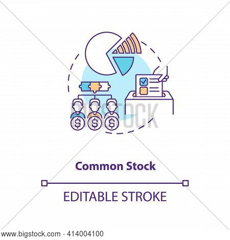 Common Stock Concept Icon. Stock Type Idea Thin Line Illustration. Owning Share In Company Profits.