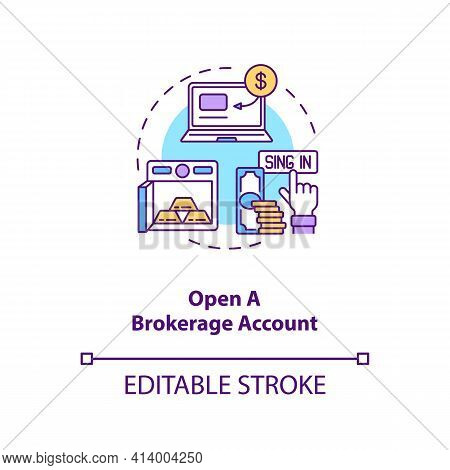 Opening Brokerage Account Concept Icon. Stock Trading Step Idea Thin Line Illustration. Investment A