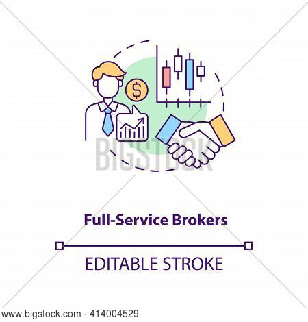 Full-service Brokers Concept Icon. Broker Type Idea Thin Line Illustration. Purchasing And Selling A
