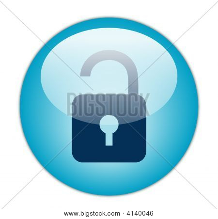 The Glassy Aqua Blue Unlock Icon Button