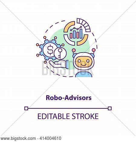 Robo-advisors Concept Icon. Broker Type Idea Thin Line Illustration. Human Supervision Absence. Auto