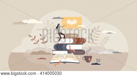 Reading Books And Literature Passion Or Education Study Tiny Person Concept
