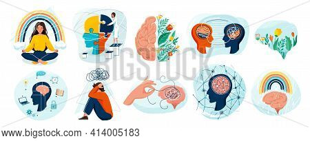 Mental Health Set Vector Background. Collection Of Different Illustration With Sad And Happy People,