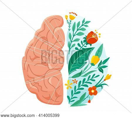 Mental Health Vector Illustration. Left And Right Human Brain Concept. Balance Design With Flower, P