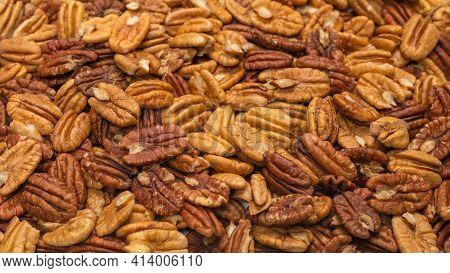 Tasty Pecan-nut Background. Top View. Top View.