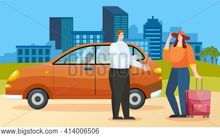 Booking And Renting Car For Trips Around World. Woman Is Talking To Landlord About Traveling