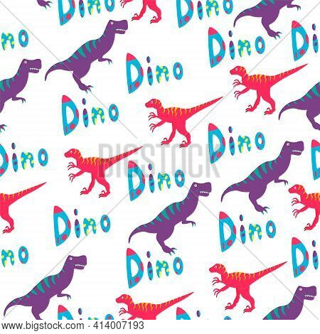A Seamless Pattern With A Tyrannosaurus, Velociraptor And The Word