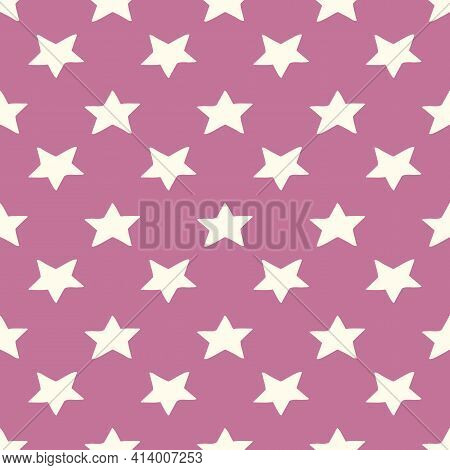 Vector Seamless Pattern With Hand Drawn Cute Stars On Pink Girly Background Textile, Notebooks, Scra