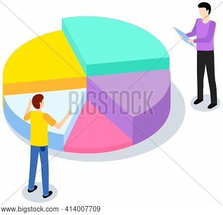 Characters Discuss While Working With Statistical Pie Chart. Profit Sectorized Diagram, Statistics