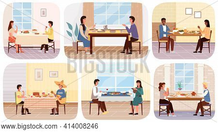Set Of Illustrations About People In National Costumes Eat Traditional Food And Drinks In Restaurant