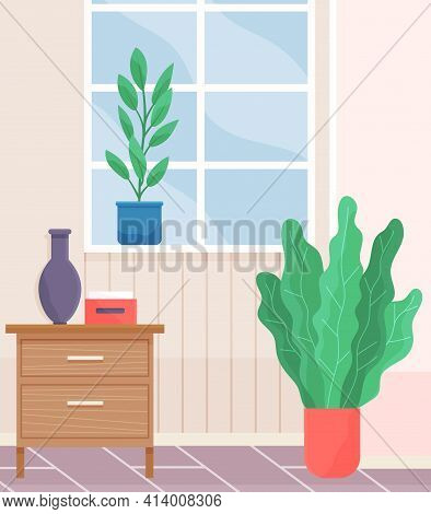 Cartoon Background Of Living Room With Window, Commode, Potted Plants And Vase. Indoor Furniture