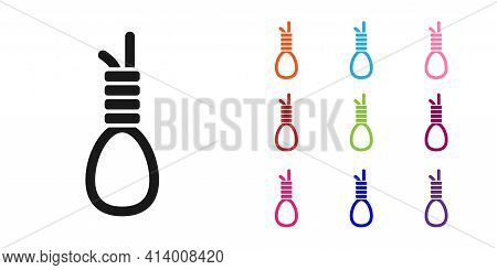 Black Gallows Rope Loop Hanging Icon Isolated On White Background. Rope Tied Into Noose. Suicide, Ha