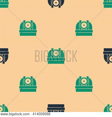 Green And Black Astronomical Observatory Icon Isolated Seamless Pattern On Beige Background. Observa