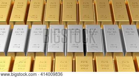 Rows Of Stacked Gold Bars And A Row Of Silver Bars Among Them. 3d Illustration