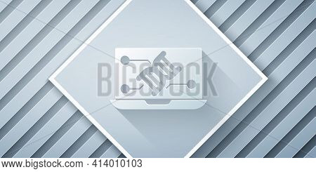 Paper Cut Genetic Engineering Modification On Laptop Icon Isolated On Grey Background. Dna Analysis,
