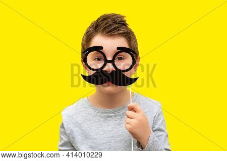 Funny Happy Boy Holding Black Hipster Mustache And Glasses Photo Props, Child Pretends To Be Dad, Pr