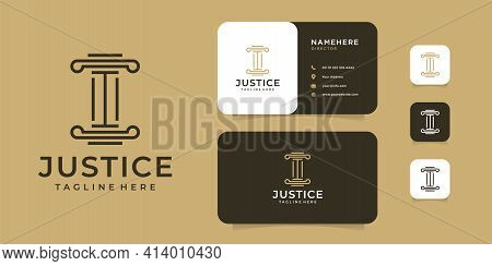 Minimalist Law Firm Justice Logo And Business Card Design Vector Inspiration. Logo Can Be Used For I