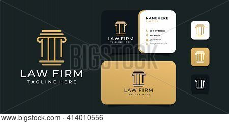 Inspirational Law Firm Justice Logo Design And Business Card Vector Template. Logo Can Be Used For I