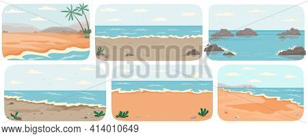 Set Of Illustrations With Sea Landcapes. Coastline With Ocean And Waves Vector Illustration