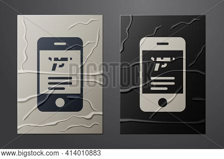 White Hunting Shop With Rifle And Gun Weapon In Mobile App Icon Isolated On Crumpled Paper Backgroun