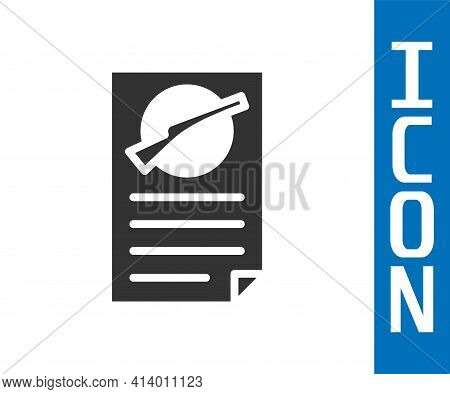 Grey Firearms License Certificate Icon Isolated On White Background. Weapon Permit. Vector