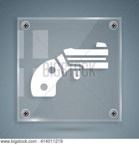 White Small Gun Revolver Icon Isolated On Grey Background. Pocket Pistol For Self-defense. Ladies Re