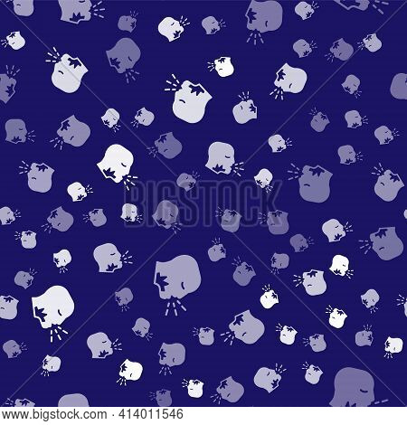 White Man Coughing Icon Isolated Seamless Pattern On Blue Background. Viral Infection, Influenza, Fl