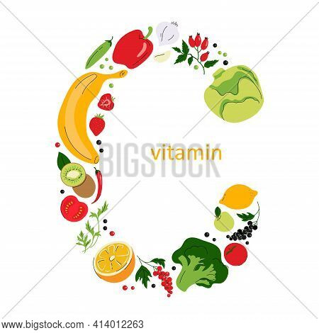 Vitamin C Sign With Fruits And Vegetables, Letter C Composition. Collection Of Vitamin C Sources. He