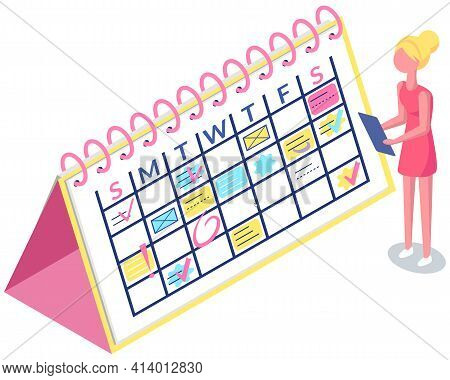 Girl With Clipboard Is Looking At Schedule Or Timetable. Business Planning And Scheduling Concept