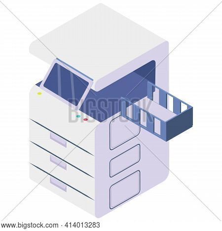 Technology For Printing On Papers. Isometric Copier Or Printer. Photocopier, Printing Machine