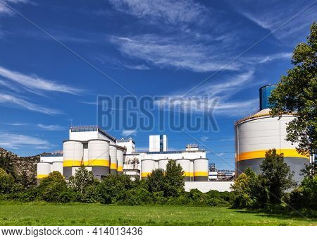 Exterior of a Cement plant in Northern Italy. Contemporary Industrial Architecture concept